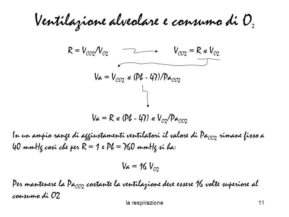 la respirazione11 Ventilazione alveolare e consumo di O 2 Va = V CO2 x (Pb - 47)/Pa CO2 R = V CO2 /V O2 V CO2 = R x V O2 Va = R x (Pb - 47) x V O2 /Pa CO2 In un ampio range di aggiustamenti ventilatori il valore di Pa CO2 rimane fisso a 40 mmHg così che per R = 1 e Pb = 760 mmHg si ha: Va = 16 V O2 Per mantenere la Pa CO2 costante la ventilazione deve essere 16 volte superiore al consumo di O2