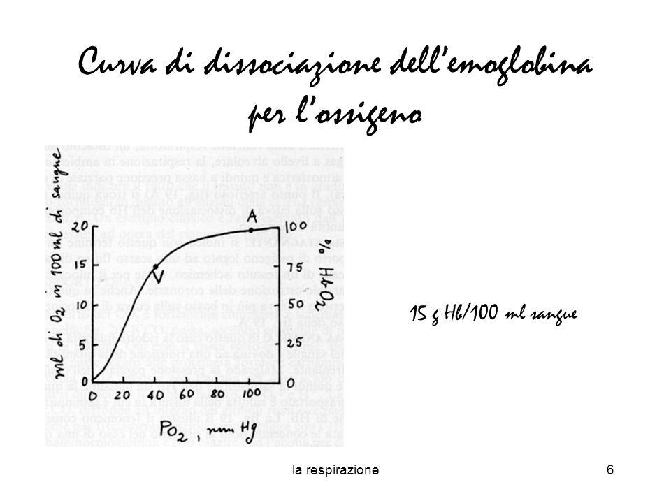la respirazione6 Curva di dissociazione dellemoglobina per lossigeno 15 g Hb/100 ml sangue