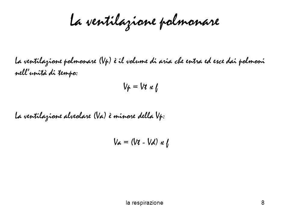 la respirazione9 La ventilazione polmonare e produzione di CO 2 La Va può anche essere ottenuta calcolando la produzione di CO 2 (VCO 2 ): VCO 2 = Va x FaCO 2 Dove la frazione alveolare della CO 2 (FaCO 2 ) è: FaCO 2 = PaCO 2 /Pb - 47 Per cui: Va = VCO2 x (Pb - 47)/PaCO2 Pertanto, variando la ventilazione alveolare è possibile variare la pressione parziale della CO2 alveolare e di conseguenza lequilibrio acido base