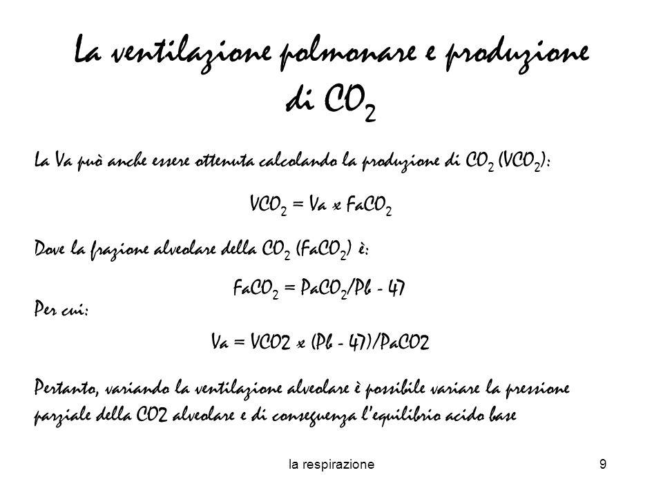 la respirazione10 La pressione parziale di un gas a livello alveolare può anche essere espressa in funzione del metabolismo energetico e della pressione parziale dellO2 nellaria inspirata (Pi O2 ).