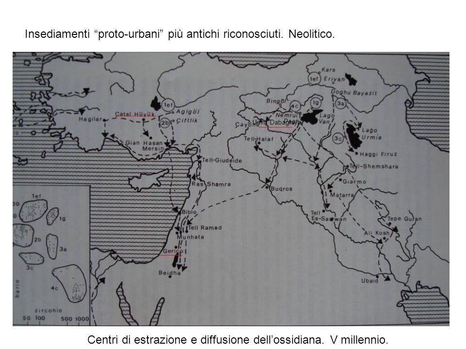 Umm Dabaghiya Insediamenti proto-urbani più antichi riconosciuti. Neolitico. Centri di estrazione e diffusione dellossidiana. V millennio.