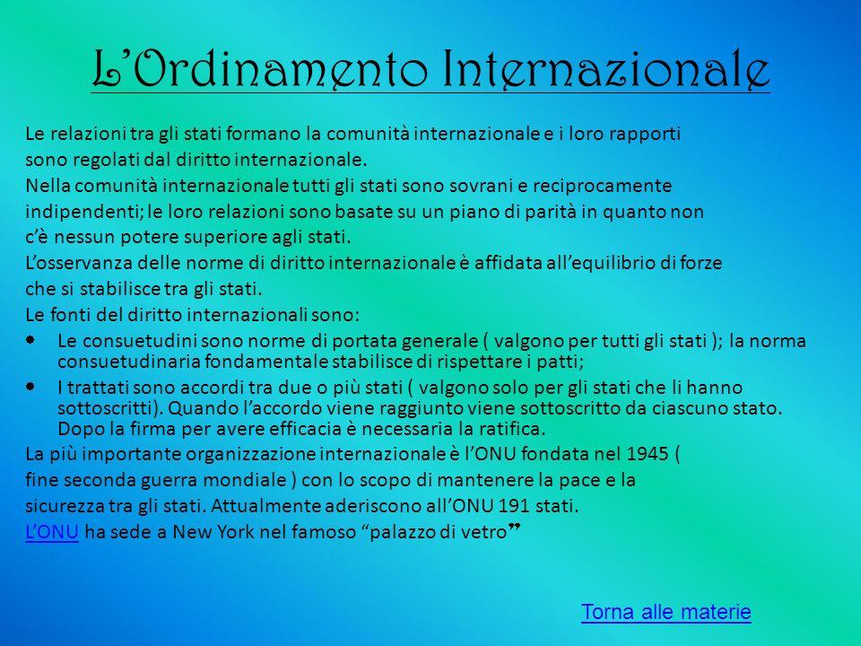 LOrdinamento Internazionale Le relazioni tra gli stati formano la comunità internazionale e i loro rapporti sono regolati dal diritto internazionale.