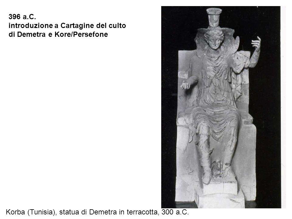 Korba (Tunisia), statua di Demetra in terracotta, 300 a.C. 396 a.C. introduzione a Cartagine del culto di Demetra e Kore/Persefone