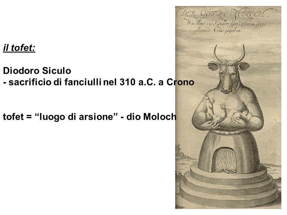 il tofet: Diodoro Siculo - sacrificio di fanciulli nel 310 a.C. a Crono tofet = luogo di arsione - dio Moloch