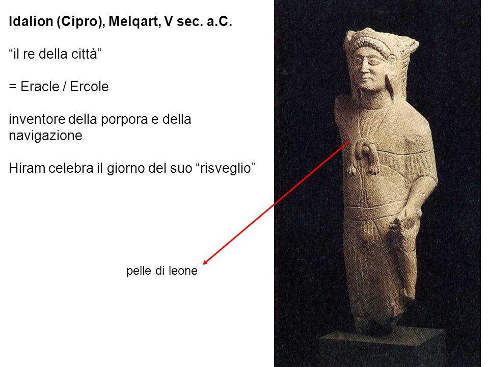 Idalion (Cipro), Melqart, V sec. a.C. il re della città = Eracle / Ercole inventore della porpora e della navigazione Hiram celebra il giorno del suo