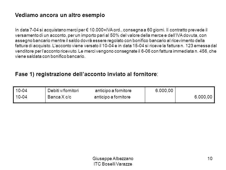 Giuseppe Albezzano ITC Boselli Varazze 10 Vediamo ancora un altro esempio In data 7-04 si acquistano merci per 10.000+IVA ord., consegna a 60 giorni.