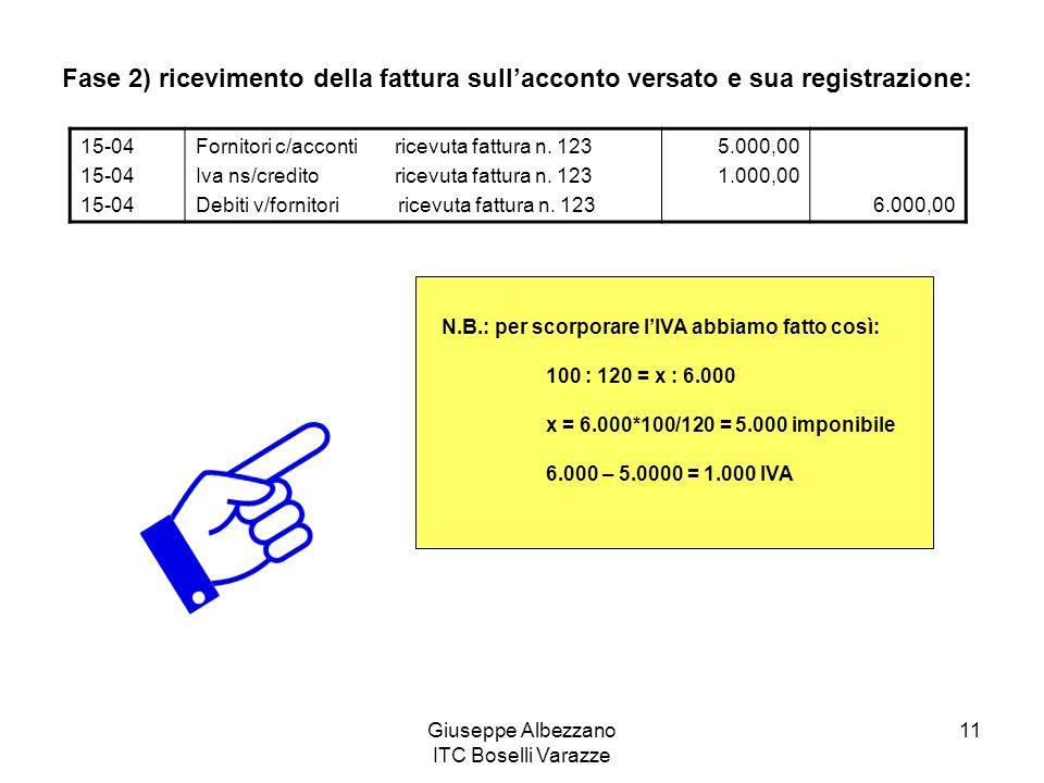 Giuseppe Albezzano ITC Boselli Varazze 11 Fase 2) ricevimento della fattura sullacconto versato e sua registrazione: 15-04 Fornitori c/acconti ricevuta fattura n.