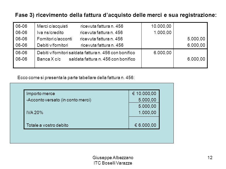 Giuseppe Albezzano ITC Boselli Varazze 12 Fase 3) ricevimento della fattura dacquisto delle merci e sua registrazione: 06-06 Merci c/acquisti ricevuta fattura n.