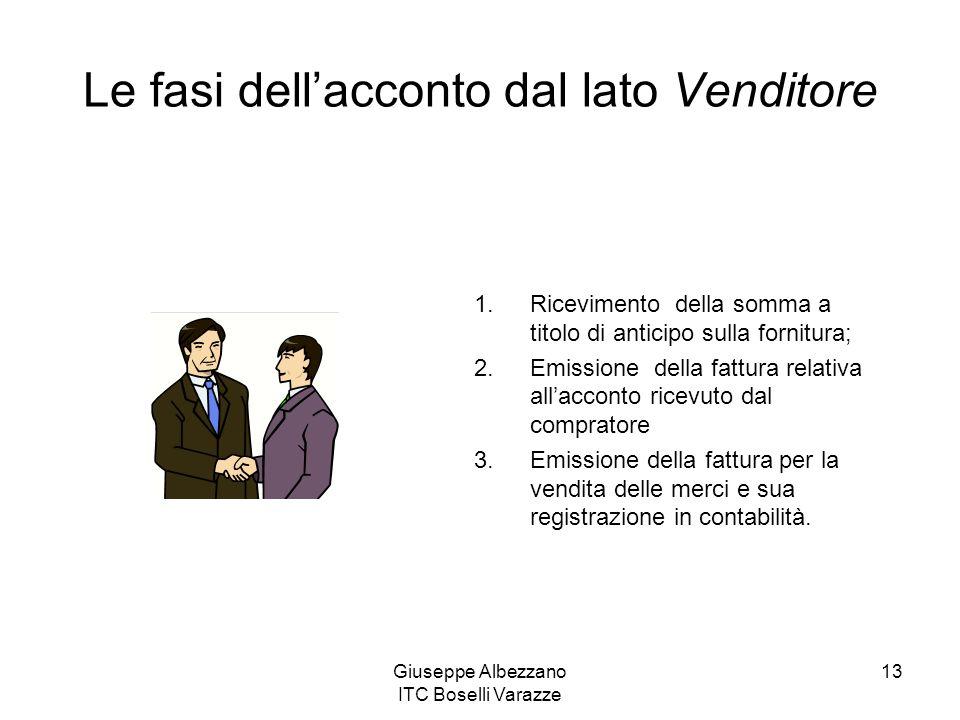 Giuseppe Albezzano ITC Boselli Varazze 13 Le fasi dellacconto dal lato Venditore 1.Ricevimento della somma a titolo di anticipo sulla fornitura; 2.Emi