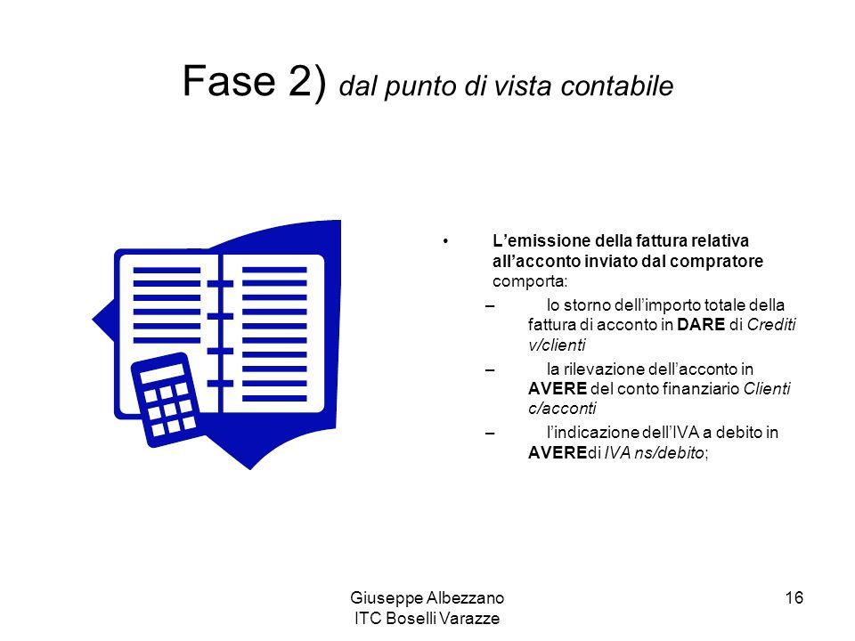 Giuseppe Albezzano ITC Boselli Varazze 16 Lemissione della fattura relativa allacconto inviato dal compratore comporta: – lo storno dellimporto totale