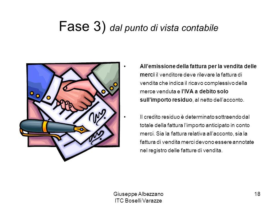 Giuseppe Albezzano ITC Boselli Varazze 18 Fase 3) dal punto di vista contabile Allemissione della fattura per la vendita delle merci il venditore deve