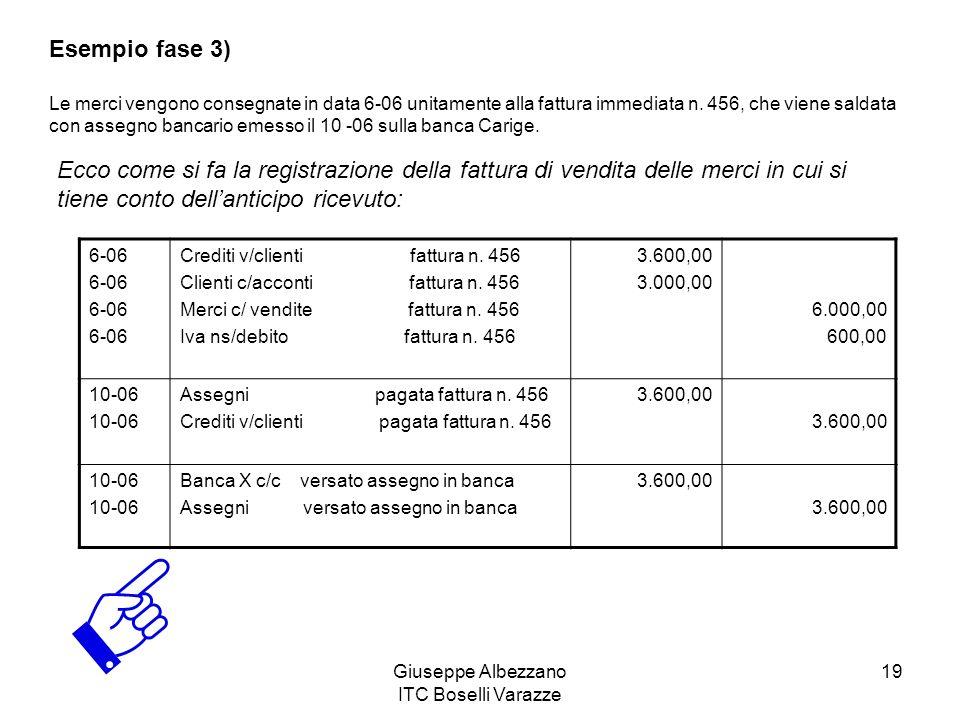 Giuseppe Albezzano ITC Boselli Varazze 19 Esempio fase 3) Le merci vengono consegnate in data 6-06 unitamente alla fattura immediata n. 456, che viene
