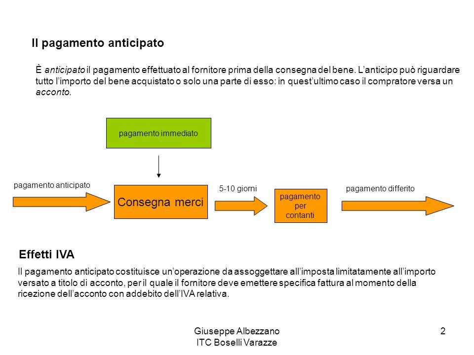 Giuseppe Albezzano ITC Boselli Varazze 2 Il pagamento anticipato È anticipato il pagamento effettuato al fornitore prima della consegna del bene.