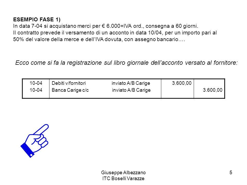 Giuseppe Albezzano ITC Boselli Varazze 5 ESEMPIO FASE 1) In data 7-04 si acquistano merci per 6.000+IVA ord., consegna a 60 giorni. Il contratto preve