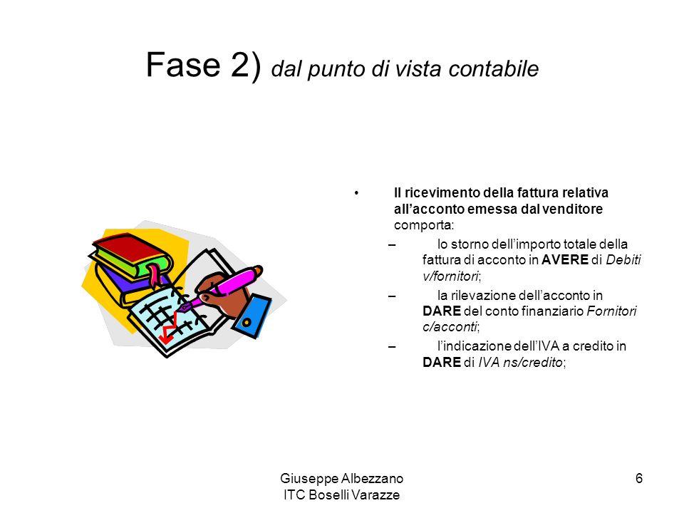 Giuseppe Albezzano ITC Boselli Varazze 6 Il ricevimento della fattura relativa allacconto emessa dal venditore comporta: – lo storno dellimporto total