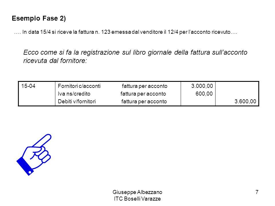 Giuseppe Albezzano ITC Boselli Varazze 7 Esempio Fase 2) …. In data 15/4 si riceve la fattura n. 123 emessa dal venditore il 12/4 per lacconto ricevut