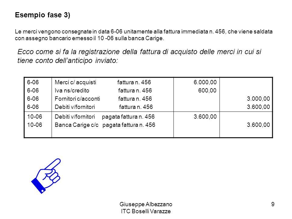 Giuseppe Albezzano ITC Boselli Varazze 9 Esempio fase 3) Le merci vengono consegnate in data 6-06 unitamente alla fattura immediata n.