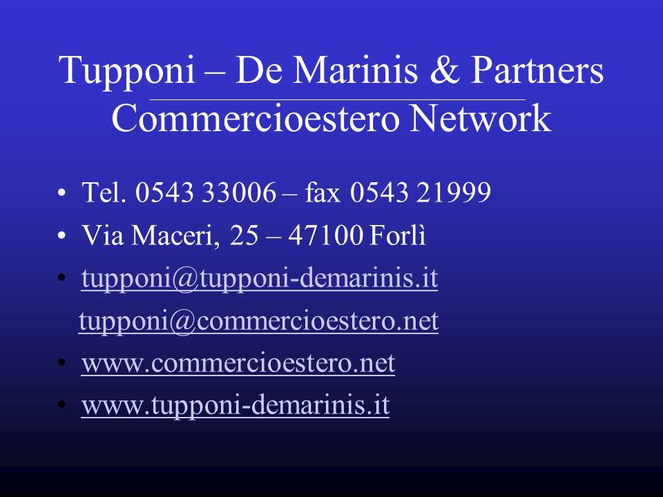 Tel. 0543 33006 – fax 0543 21999 Via Maceri, 25 – 47100 Forlì tupponi@tupponi-demarinis.it tupponi@commercioestero.net www.commercioestero.net www.tup