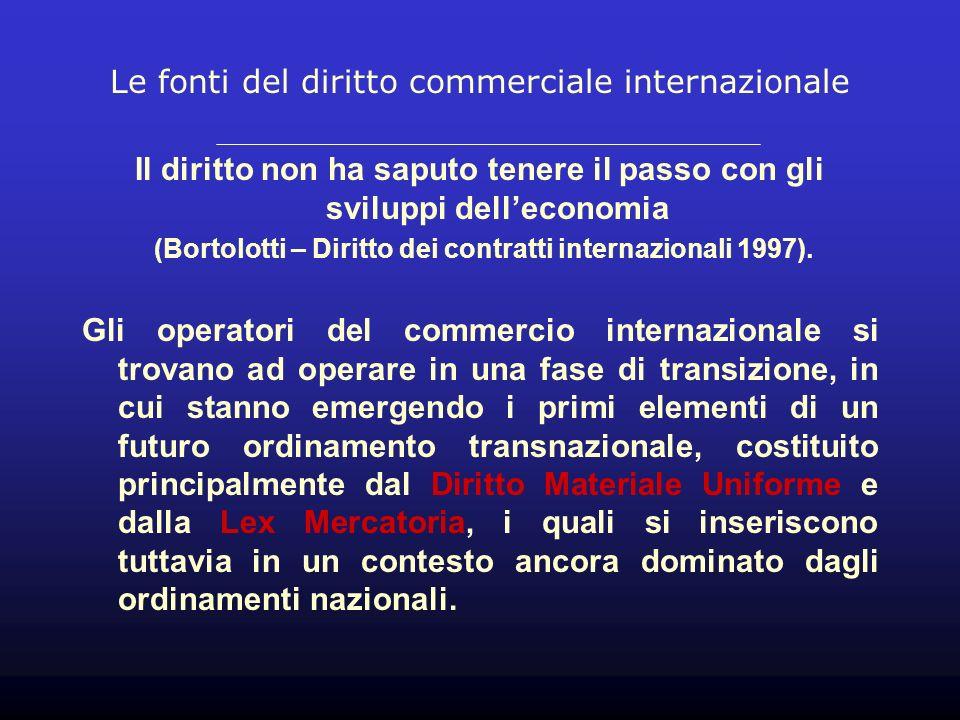 Le fonti del diritto commerciale internazionale Il diritto non ha saputo tenere il passo con gli sviluppi delleconomia (Bortolotti – Diritto dei contratti internazionali 1997).