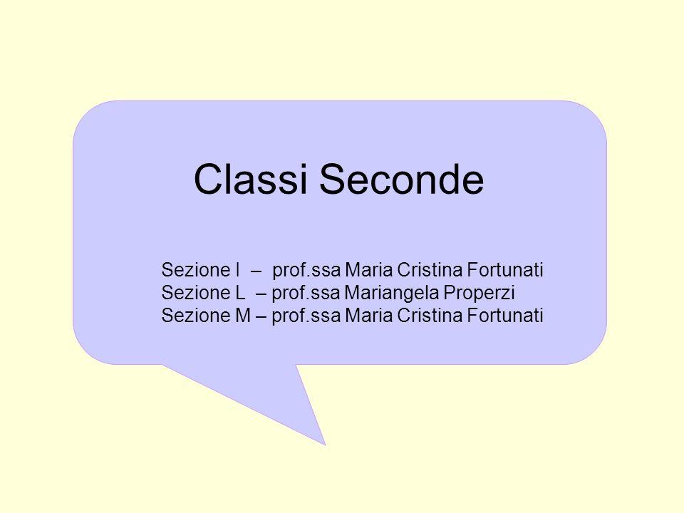 Classi Seconde Sezione I – prof.ssa Maria Cristina Fortunati Sezione L – prof.ssa Mariangela Properzi Sezione M – prof.ssa Maria Cristina Fortunati