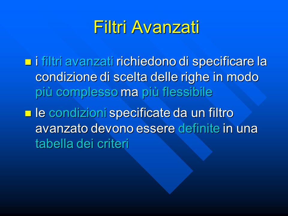 Filtri Avanzati i filtri avanzati richiedono di specificare la condizione di scelta delle righe in modo più complesso ma più flessibile i filtri avanz