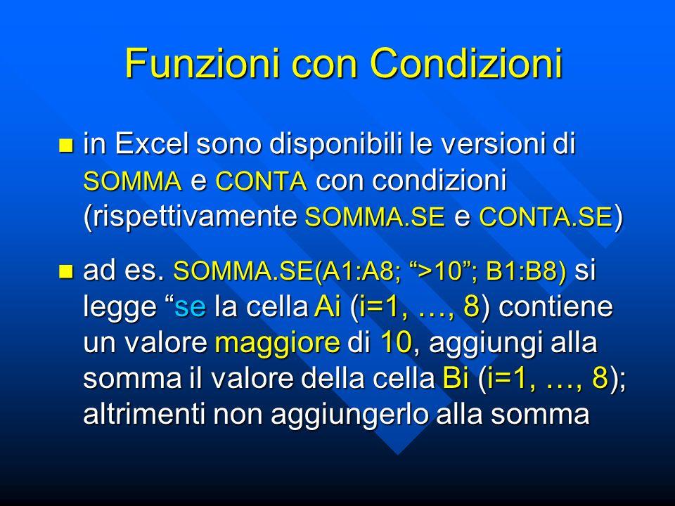 Funzioni con Condizioni in Excel sono disponibili le versioni di SOMMA e CONTA con condizioni (rispettivamente SOMMA.SE e CONTA.SE ) in Excel sono disponibili le versioni di SOMMA e CONTA con condizioni (rispettivamente SOMMA.SE e CONTA.SE ) ad es.