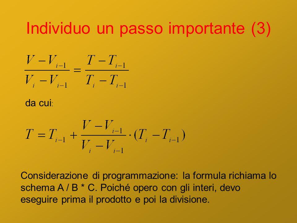 Individuo un passo importante (3) da cui : Considerazione di programmazione: la formula richiama lo schema A / B * C. Poiché opero con gli interi, dev