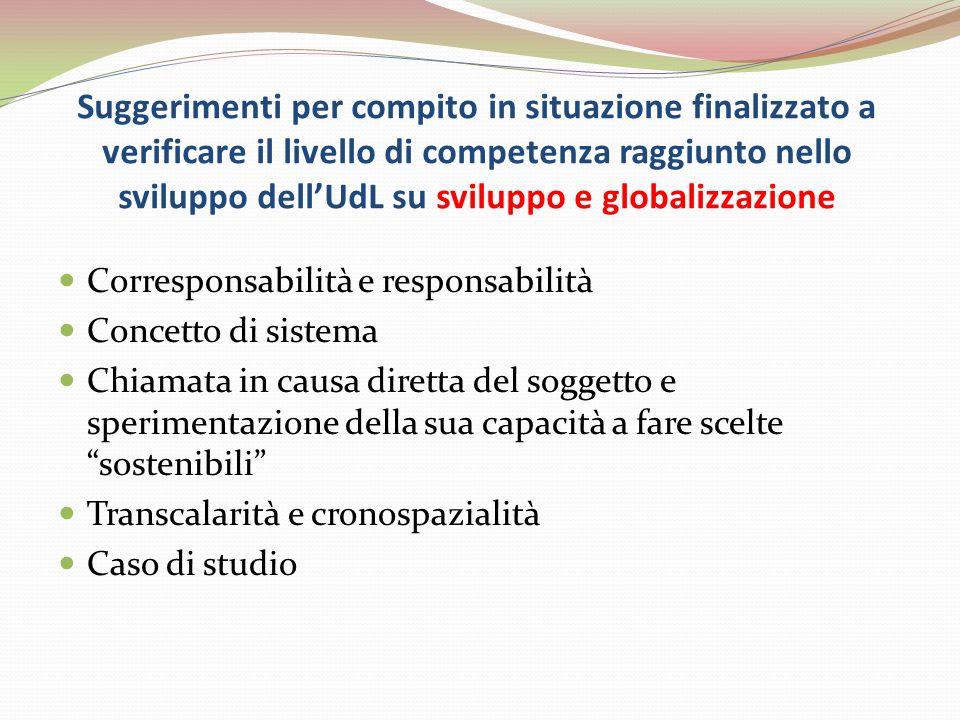 Suggerimenti per compito in situazione finalizzato a verificare il livello di competenza raggiunto nello sviluppo dellUdL su sviluppo e globalizzazion