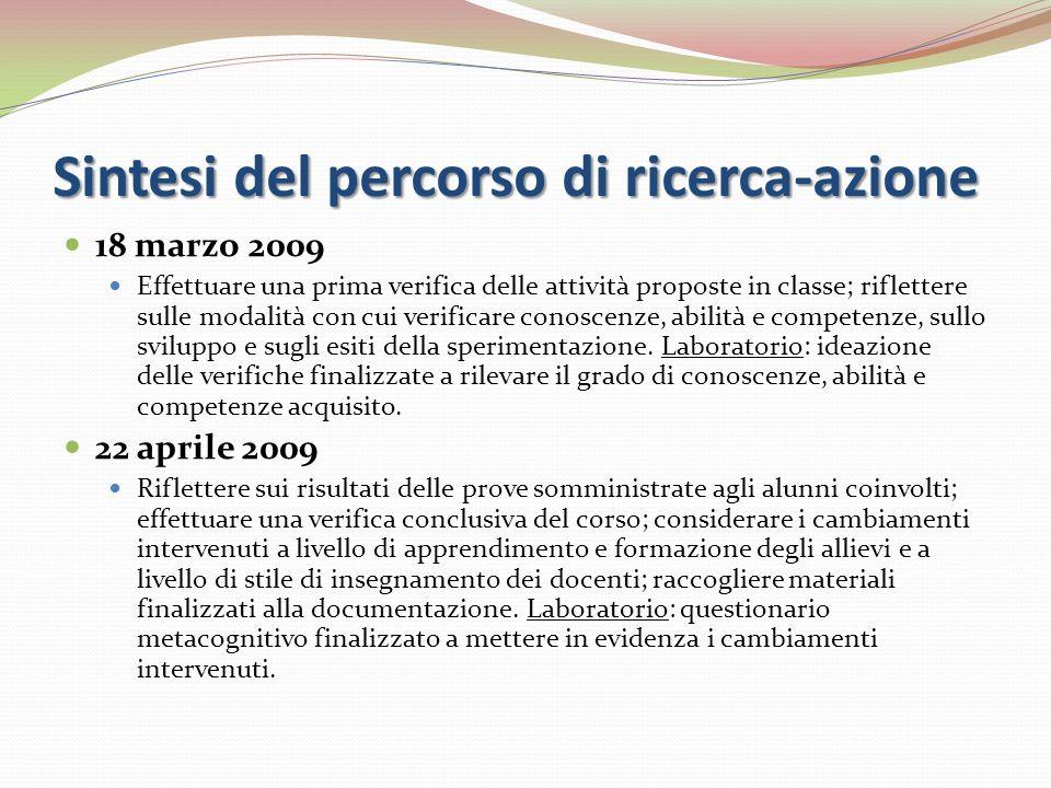 Sintesi del percorso di ricerca-azione 18 marzo 2009 Effettuare una prima verifica delle attività proposte in classe; riflettere sulle modalità con cu
