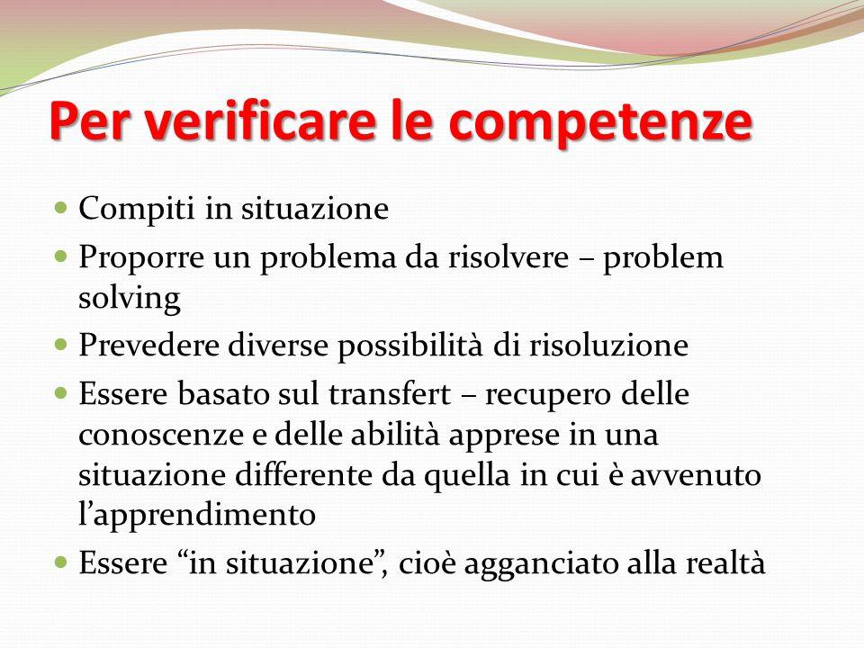 Per verificare le competenze Compiti in situazione Proporre un problema da risolvere – problem solving Prevedere diverse possibilità di risoluzione Es
