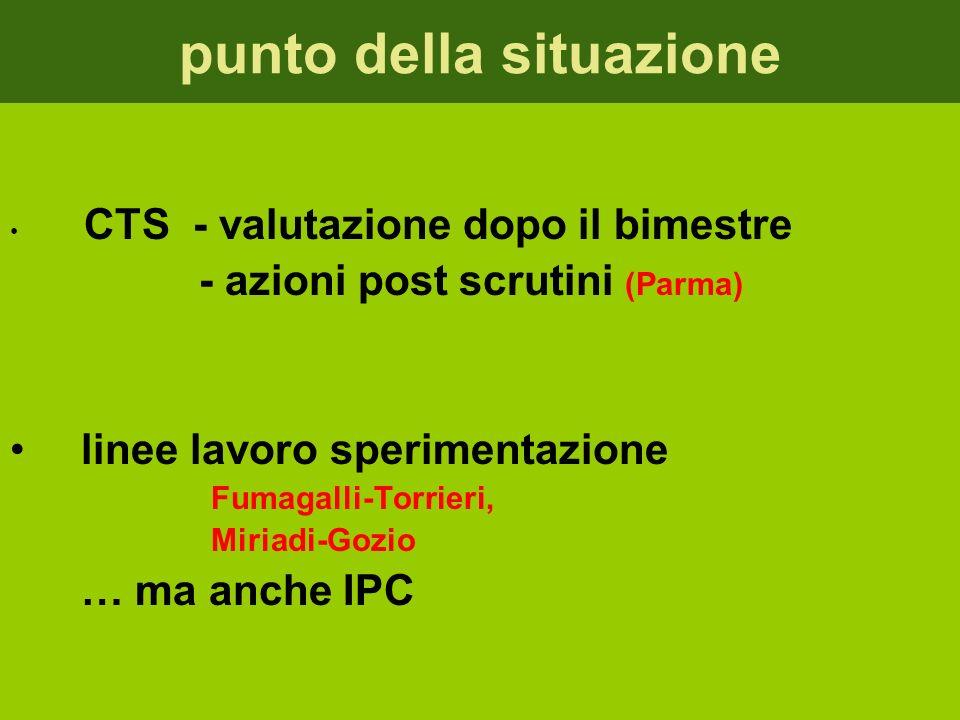 punto della situazione CTS - valutazione dopo il bimestre - azioni post scrutini (Parma) linee lavoro sperimentazione Fumagalli-Torrieri, Miriadi-Gozio … ma anche IPC