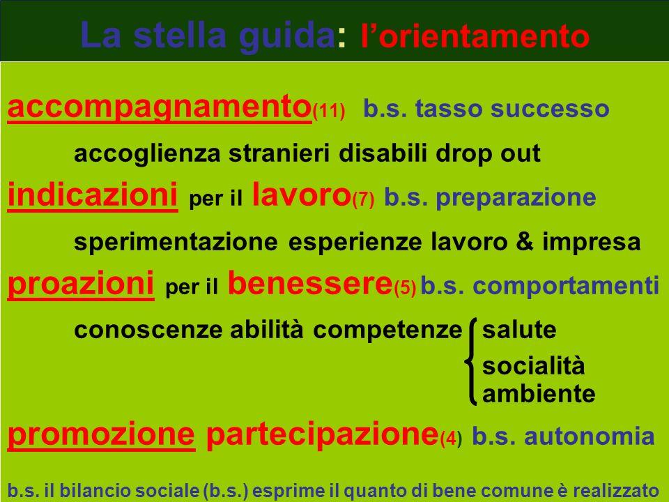La stella guida: lorientamento accompagnamento (11) b.s. tasso successo accoglienza stranieri disabili drop out indicazioni per il lavoro (7) b.s. pre