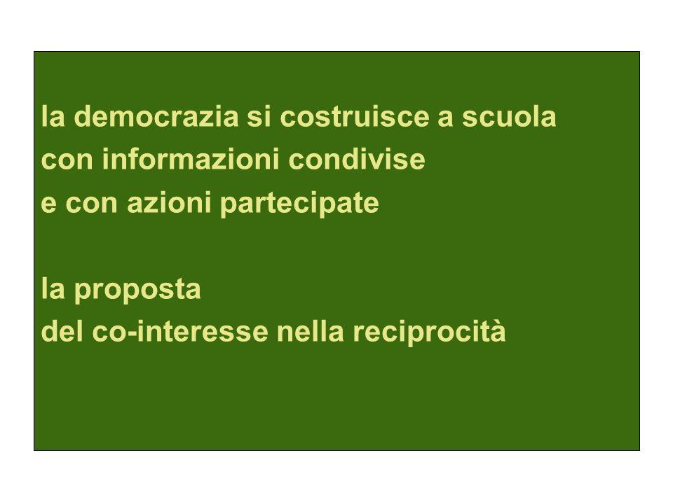 la democrazia si costruisce a scuola con informazioni condivise e con azioni partecipate la proposta del co-interesse nella reciprocità