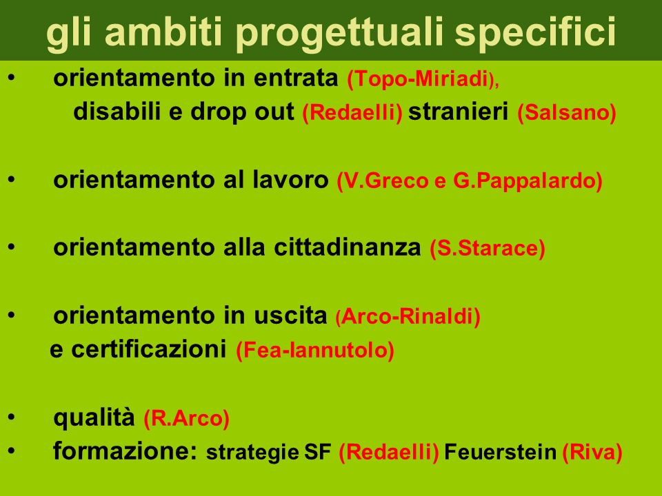 gli ambiti progettuali specifici orientamento in entrata (Topo-Miriadi ), disabili e drop out (Redaelli) stranieri (Salsano) orientamento al lavoro (V.Greco e G.Pappalardo) orientamento alla cittadinanza (S.Starace) orientamento in uscita ( Arco-Rinaldi) e certificazioni (Fea-Iannutolo) qualità (R.Arco) formazione: strategie SF (Redaelli) Feuerstein (Riva)