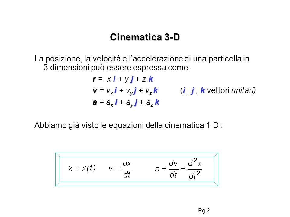 Pg 2 Cinematica 3-D La posizione, la velocità e laccelerazione di una particella in 3 dimensioni può essere espressa come: rijk r = x i + y j + z k vi