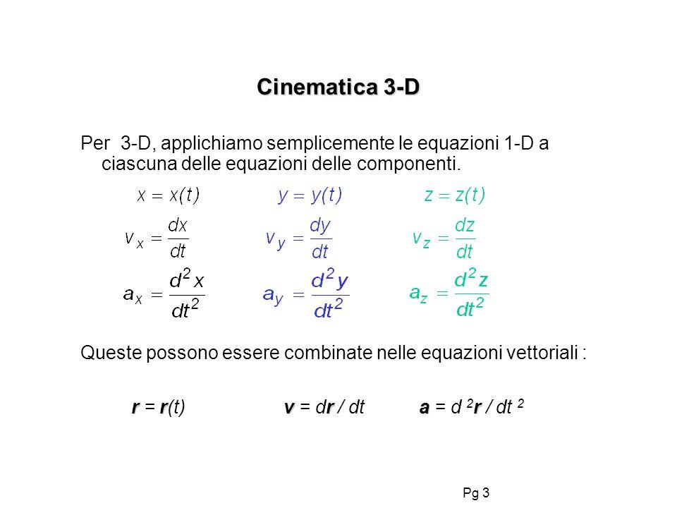Pg 3 Cinematica 3-D Per 3-D, applichiamo semplicemente le equazioni 1-D a ciascuna delle equazioni delle componenti. Queste possono essere combinate n