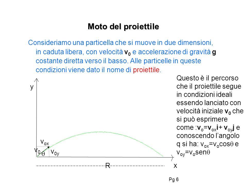 Pg 6 Moto del proiettile Consideriamo una particella che si muove in due dimensioni, in caduta libera, con velocità v 0 e accelerazione di gravità g c