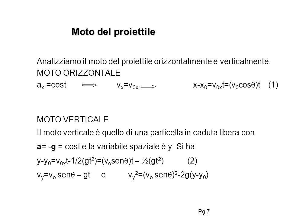 Pg 7 Moto del proiettile Analizziamo il moto del proiettile orizzontalmente e verticalmente. MOTO ORIZZONTALE a x =cost v x =v 0x x-x 0 =v 0x t=(v 0 c