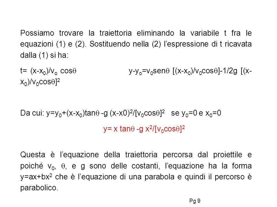 Pg 9 Possiamo trovare la traiettoria eliminando la variabile t fra le equazioni (1) e (2). Sostituendo nella (2) lespressione di t ricavata dalla (1)