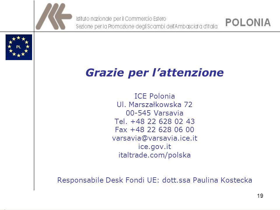 19 Grazie per lattenzione ICE Polonia Ul. Marszałkowska 72 00-545 Varsavia Tel. +48 22 628 02 43 Fax +48 22 628 06 00 varsavia@varsavia.ice.it ice.gov