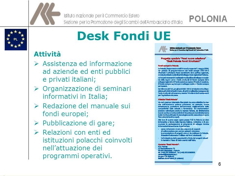 6 Desk Fondi UE Attività Assistenza ed informazione ad aziende ed enti pubblici e privati italiani; Organizzazione di seminari informativi in Italia;