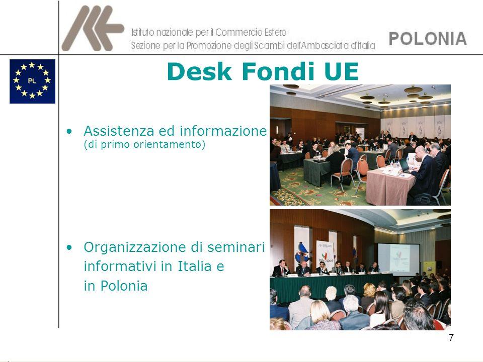 7 Desk Fondi UE Assistenza ed informazione (di primo orientamento) Organizzazione di seminari informativi in Italia e in Polonia