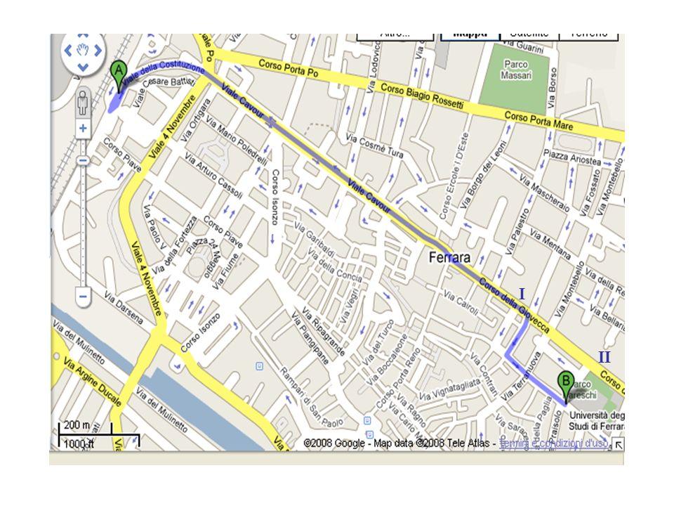 Uscita Ferrara Sud (A14) Direzione Centro lungo Via Bologna Parcheggio Kennedy in Via Darsena (A) A piedi in Area Pedonale fino alla Sede della Università di Ferrara (B)