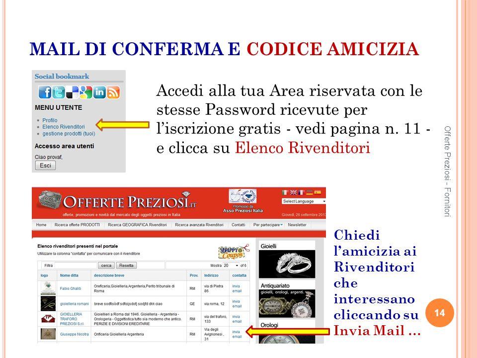MAIL DI CONFERMA E CODICE AMICIZIA Accedi alla tua Area riservata con le stesse Password ricevute per liscrizione gratis - vedi pagina n.