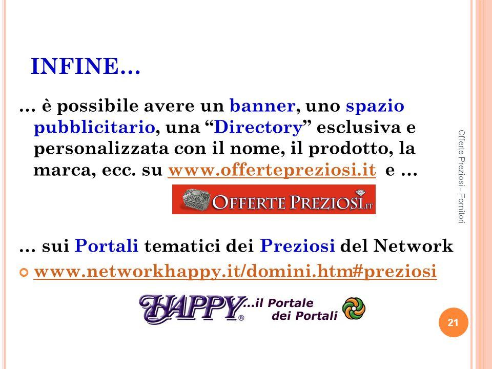 INFINE… … è possibile avere un banner, uno spazio pubblicitario, una Directory esclusiva e personalizzata con il nome, il prodotto, la marca, ecc.