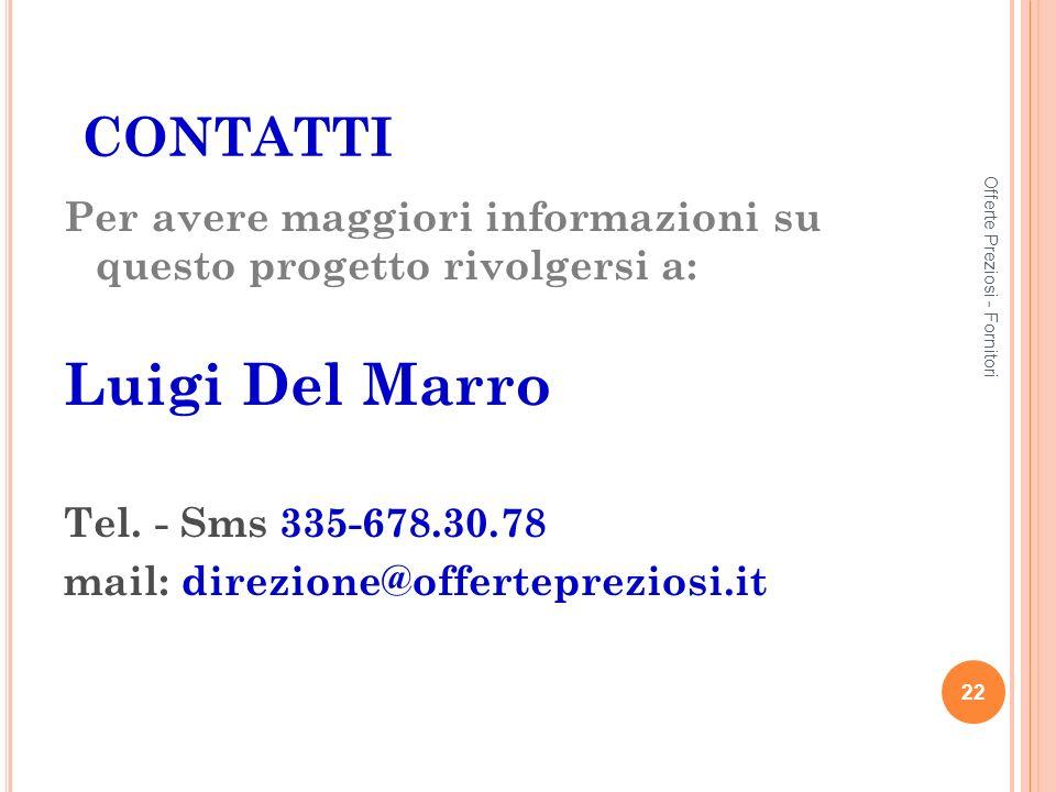 CONTATTI Per avere maggiori informazioni su questo progetto rivolgersi a: Luigi Del Marro Tel.