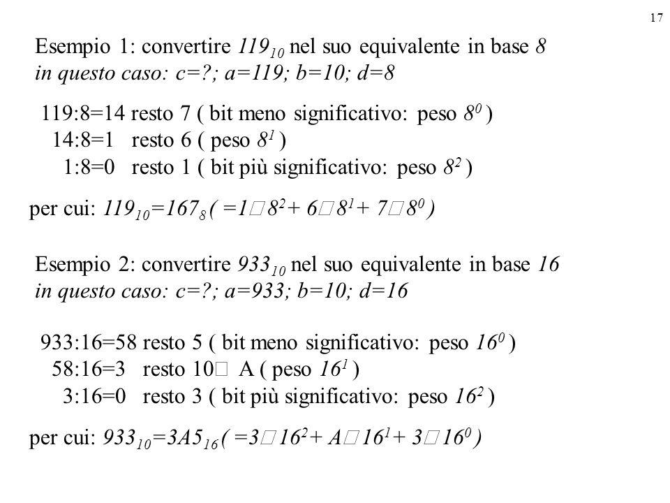 17 Esempio 1: convertire 119 10 nel suo equivalente in base 8 in questo caso: c=?; a=119; b=10; d=8 Esempio 2: convertire 933 10 nel suo equivalente i