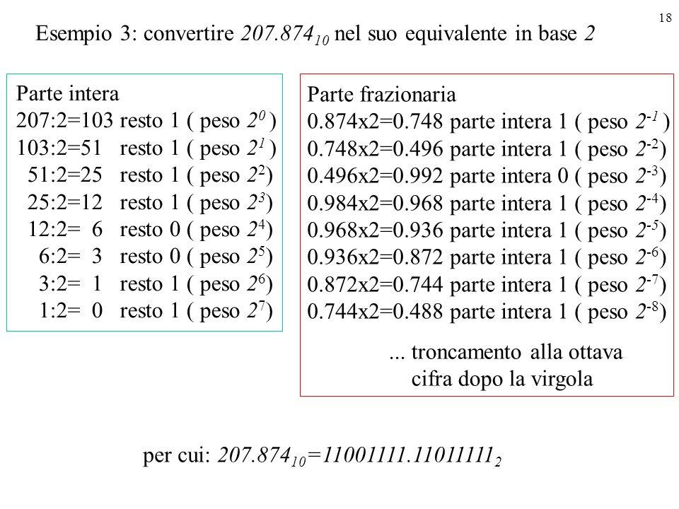 18 Esempio 3: convertire 207.874 10 nel suo equivalente in base 2 Parte intera 207:2=103 resto 1 ( peso 2 0 ) 103:2=51 resto 1 ( peso 2 1 ) 51:2=25 re
