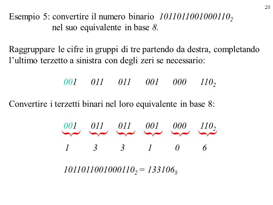 20 Esempio 5: convertire il numero binario 1011011001000110 2 nel suo equivalente in base 8. Raggruppare le cifre in gruppi di tre partendo da destra,