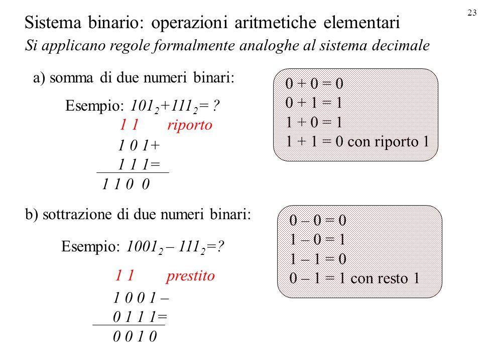 23 Sistema binario: operazioni aritmetiche elementari a) somma di due numeri binari: 1 0 1+ 1 1 1= 1 1 0 0 Si applicano regole formalmente analoghe al